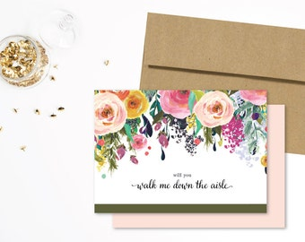Will You Walk Me Down The Aisle Card | Wedding Gift, Bridal Party Card, Wedding Card, Father of the Bride, Dad Wedding Gift, Bridal Party