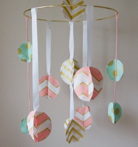 Pink Mint And Gold Nursery: Baby Girl Mobile Gold/ Pink/ Mint Nursery Decor Gold Crib
