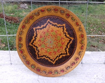 Vintage Hand Painted Wooden Decorative Folk Art Plate from Bulgaria