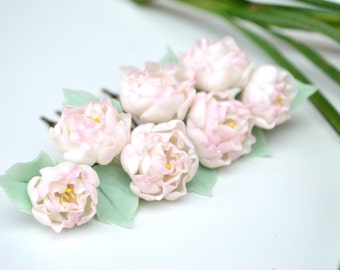 Peonies hair comb. Flower hair comb. Hair accessories. Peonies jewelry. Flower hair accessories