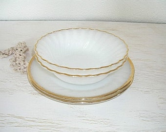 milky white and gold appetizer, breakfast or tea set - fire king salad plates and bowls - vintage milk glass - shabby chic cottage decor
