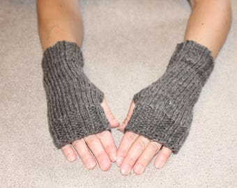 Hand Knit Fingerless Mittens/Texting Gloves -  Heather Gray Wrist Warmers- One Size Fits All