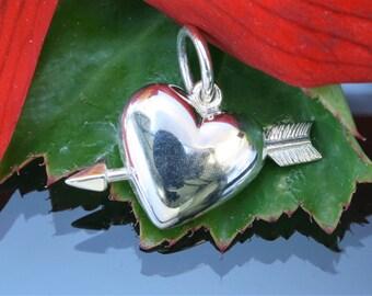 Silver Heart & Arrow Love Charm