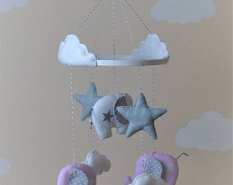 Baby mobile with elephants, clouds and stars/flower in grey, mint, peach, pink, blue