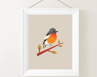 Robin on a Branch printable wall art
