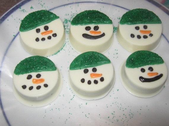 One dozen chocolate covered oreo snowmen
