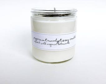 Peppermint Eucalyptus Soy Candle Organic Botanicals Hand Poured Soy Candle. Natural Candle. Eco Friendly. Essential Oils.