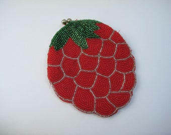 Vintage Coin Purse, Beaded Strawberry, Seed Beads, Red Green Clear, Kiss Lock, Snap Close, Mid Century, Gift for Her