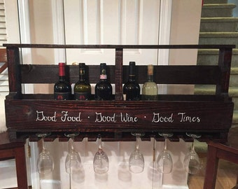 Pallet Wine Bottle and Glass Rack