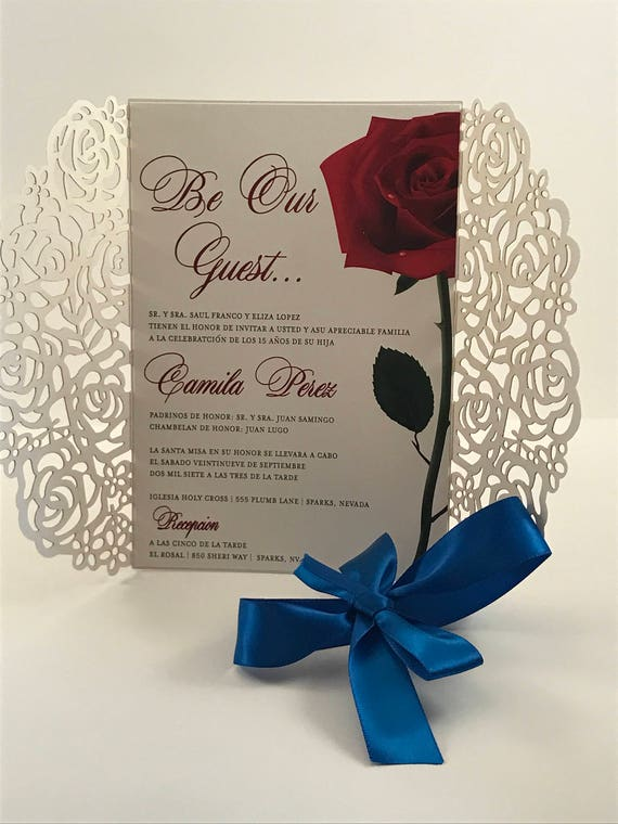 Quinceanera Invite Beauty And The Beast Invitation Rose