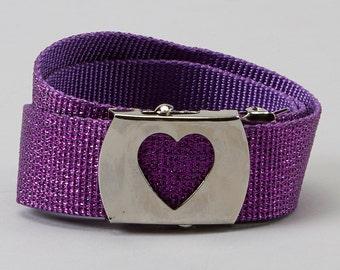 Girls Belts- SPARKLE belts- Toddler belts- Childrens belts- Custom buckle