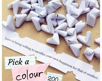 200 paper origami heart love quotes - wedding - simple decor - free delivery - wedding favours - personalised wedding