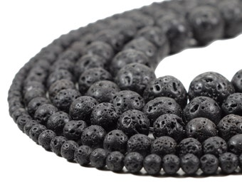 Natural Lava Beads, Full Strand 15.5 inch, Round Black Volcanic Rock, Gemstones wholesale mala, 4mm 6mm 8mm 10mm 12mm 14mm