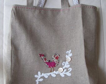 Small double linen tote bag
