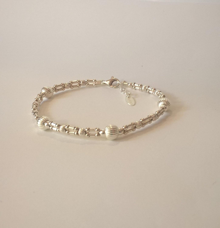 Armband-Wege-Links in Silber Beads 925 gekerbter Kabel Seide