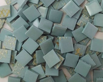 Ceramic mosaic tiles, 17x17 mm (11/16 inch), Glossy Teal