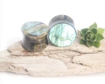 """5/8"""" Labradorite handmade plugs, 16mm Labradorite plugs, Stone plugs, Handmade plugs, Double flared stone plugs, 5/8"""" plugs, Plugs"""