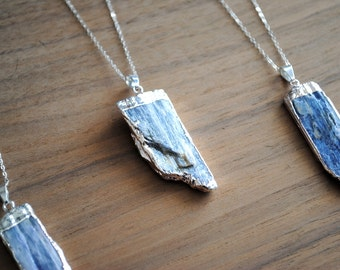 "Kyanite Necklace, Silver Plated Blue Kyanite with 18"" Delicate Sterling Silver Chain, Silver Kyanite Necklace"