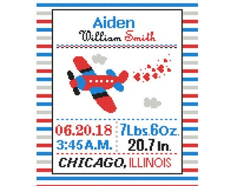 1 Cross Stitch custom Pattern Baby Boy Personalised Birth Announcement Birth Record Airplane Red Blue Green Yellow Transport Nursery Stripes
