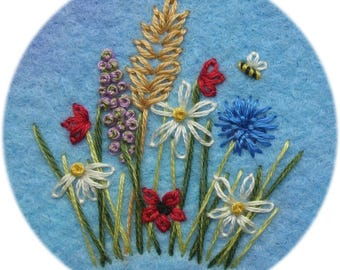 Freestyle embroidery wildflower garden with bee