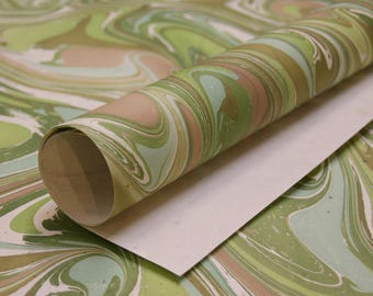 Green Cream Marble print on cream handmade Wrapping Paper gift wrap set of two large sheets