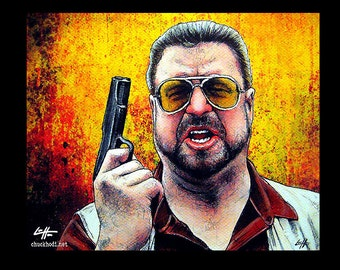 """Print 11x14"""" - Am I the only one around here who gives a shit about the rules - The Big Lebowski Walter Sobchak The Dude Abides Pop Art Guns"""