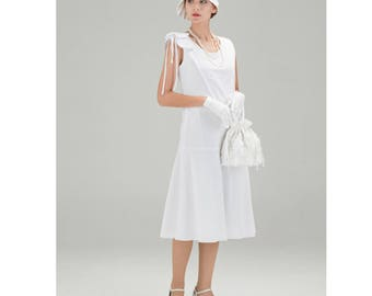Beautiful 1920s cotton dress in white with bow on shoulder, Great Gatsby party dress, 1920s high tea dress, 1920s wedding dress, 20s dress