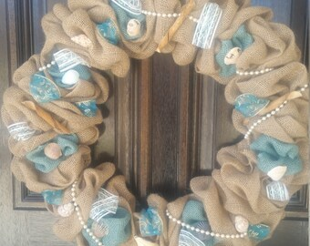 Wreath Burlap with Seashells---Free Shipping