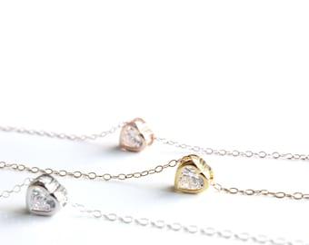 Cubic zirconia heart necklace / CZ Heart Necklace / Solitaire necklace / Cubic zirconia necklace / Heart diamond necklace