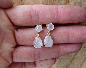 Earrings stuck: rose quartz