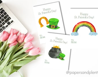 DIGITAL FILE - Printable St. Patrick's Day Cards (DIY) | Pot of Gold | Rainbow | St. Paddy's Day Gift Tag | St. Patrick's Day Gifts for Kids