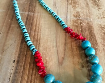 Turquoise // Coral // Heishi // Necklace
