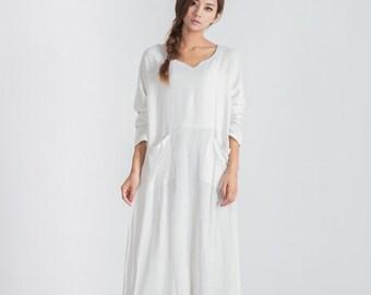 Oversize loose linen cotton maxi dress Women's large size shirt dress plus size clothing linen kaftan Custom_made dress A12