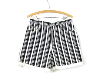 80s Jean Shorts Black & White Striped Shorts 1980s High Waist Denim Shorts Hipster Roll Up Pinstriped Shorts Womens Size 13 Large 31 waist