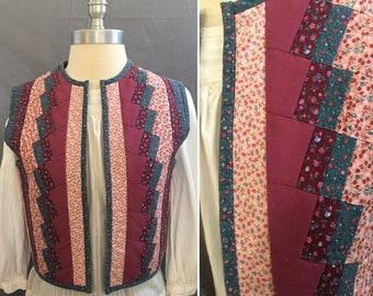 Fabulous  Womens Kitschy 1970's Quilted Calico Reversible Vest