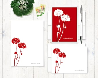 Personalized Stationery Set - notepad and note card stationary set - poppy cards - poppies notepad - flower stationery - botanical - POPPIES
