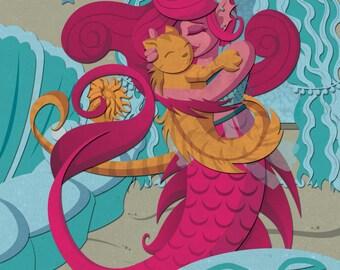 Best Friends - Mermaid and Merkitty cute art print