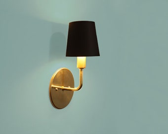 Brass sconce • Dean • Transitional wall lighting • Hollywood Regency sconce • Modern elegant light