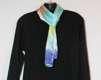 Scarf, silk and rayon scarf, OOAK
