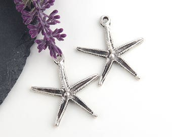 Silver Plated Star Pendant, Sea Star, Starfish Pendant, Starfish Charms, 2 pieces // SP-309