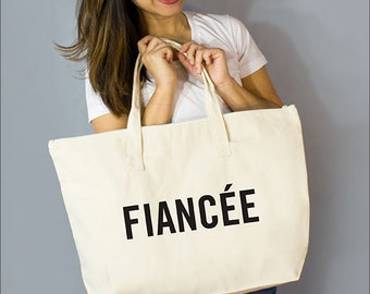 "Fiancée Large Zip Tote: 100% Natural Cotton Canvas 22""W x 15""L x 5""D with Interior Zipper Pocket  and Bottom Gusset- By Alicia Cox/ Ellafly"