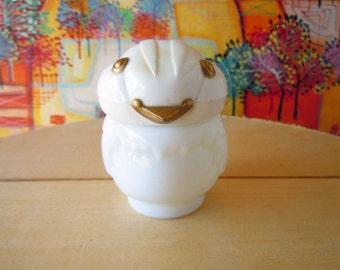 Vintage White Milk Glass Bird Avon Perfume Bottle Empty Figural Decanter