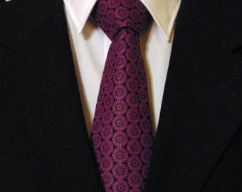 Purple Necktie, Purple Tie, Mens Necktie, Mens Tie, Purple Black Tie, Floral Necktie, Cotton Necktie, Cotton Tie, Father, Dad, Gift, Purple