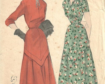 Butterick 4769 / Vintage 40s Sewing Pattern / Dress / Size 16 Bust 34
