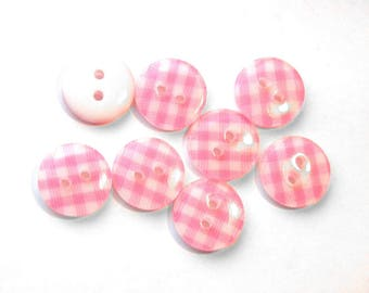 10 Pink Gingham Buttons