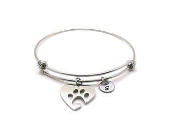 Paw Print Bangle, Paw Print Charm Bracelet, Expandable Bangle, Charm Bangle, Paw Print Bracelet, Initial Bracelet, Animal Lover Bracelet