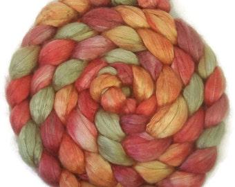 Handpainted Baby Camel Silk 50/50 Roving - 4 oz. GRAPEVINE - Spinning Fiber