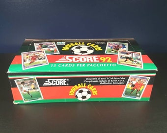 Vintage Football Cards...Score football-soccer wax box...24 unopened packs, 15 cards per pack...rare collectibles