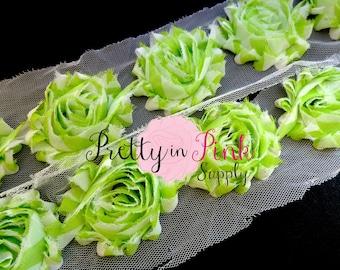 LIME GREEN WHITE Stripe Shabby Rose Trim- Shabby Flowers- 1/2 Yard or 1 Yard- Shabby Chiffon Trim- Wholesale Shabby Flowers