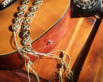 Reduced! VINTAGE BOHO HIPPY Wood and String/Beads Belt  Handmade right out of the 60s